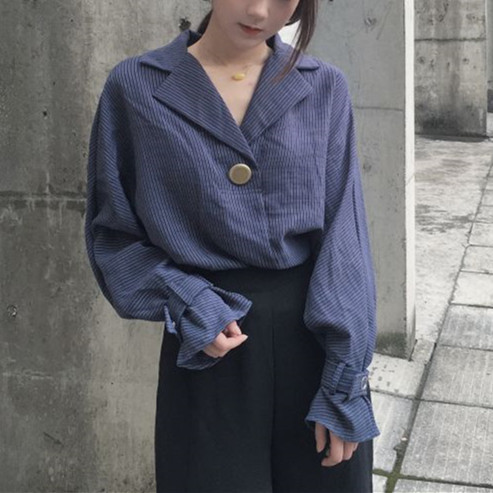 【即納♡】Notched Loose  Blouse Shirt  366