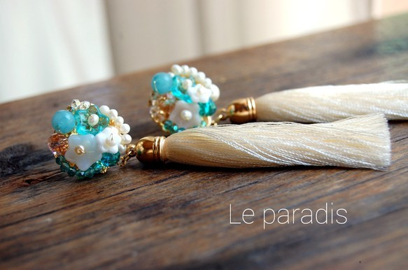 blue bouquet tasselピアス[チタンポスト]