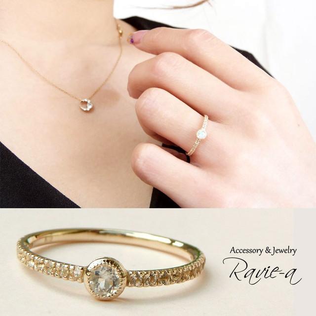 ブルームーンストーン 指輪 ホワイトトパーズ ハーフエタニティリング セカンドマリッジリング 婚約指輪 セミオーダー可能