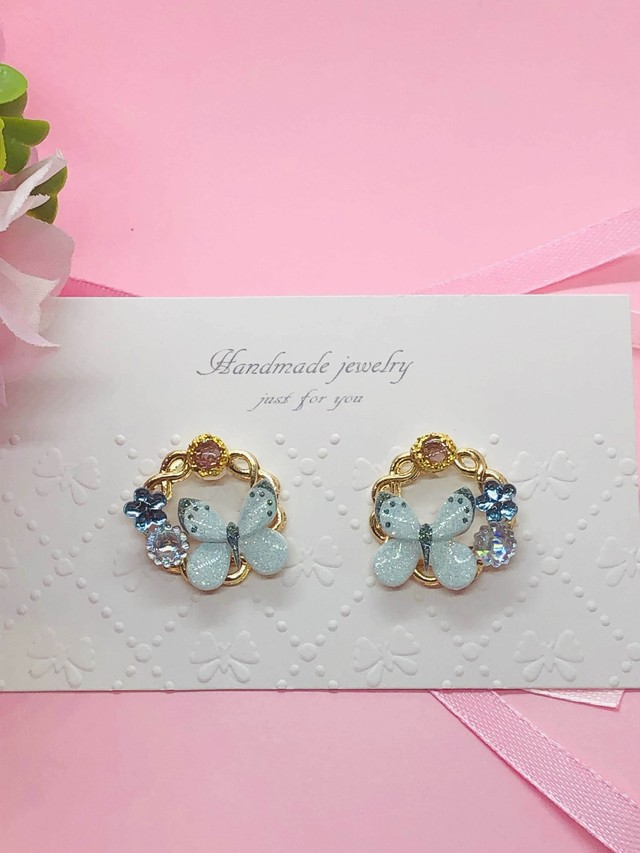 butterflyサークル blue ピアス/イヤリング