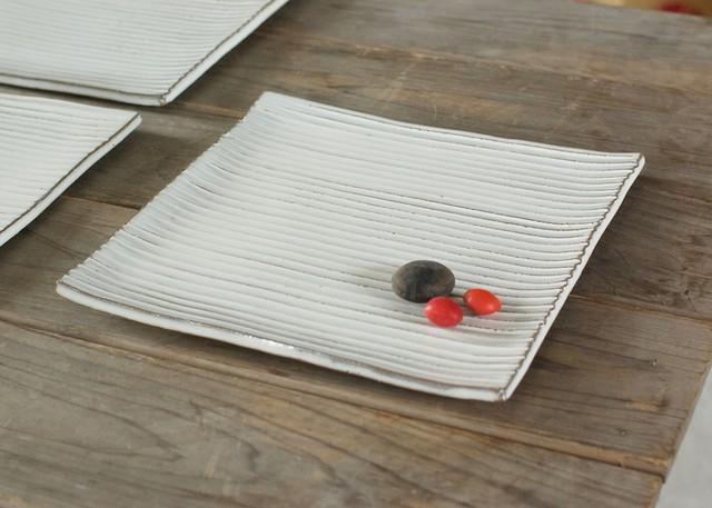 白い陶板のお皿(スクエア/大)