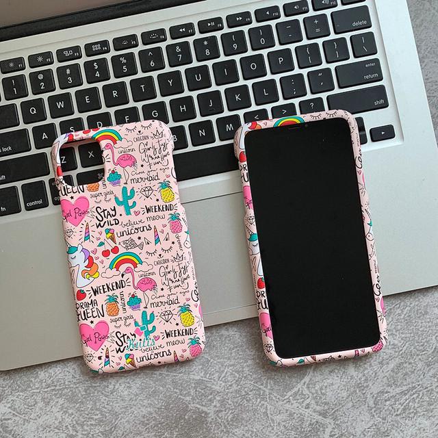 ピンク系 落書き iPhone11 Pro/11/XSケース フルカバー 可愛い♪