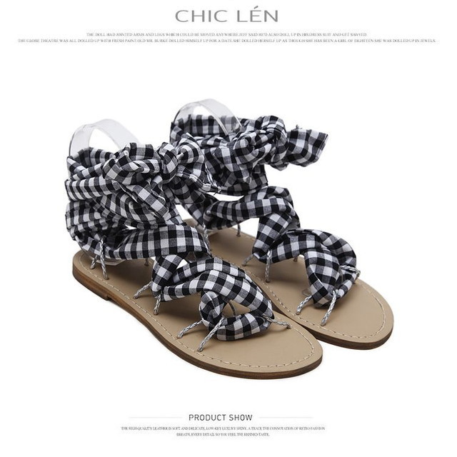 【other/ other】ギンガムチェックを足元に‼!リボンアンクルストラップサンダル / NEW CLASSIC PLAID SANDALS PU OTHER SUMMER (WCN-1529907071)