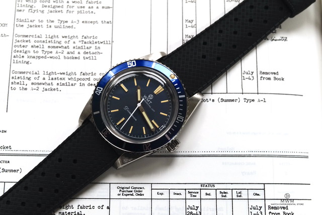 """WMT WATCH SEA DIVER """"Diverman""""  Navy Dial with TROPIC BAND"""