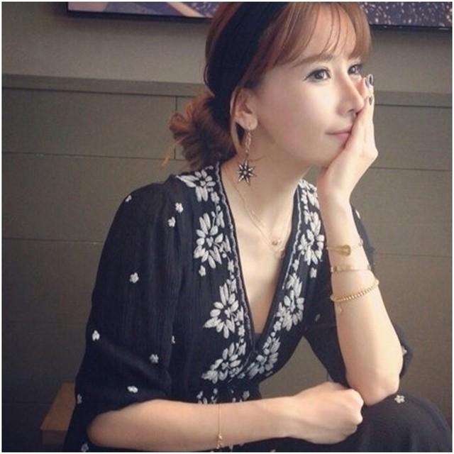 刺繍 マキシワンピース 花柄 和風ボヘミアン♡五分袖丈