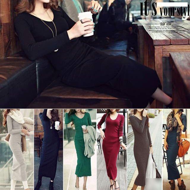 シンプル大人Ladyに♪Vネックニットワンピース/レディース ニット ワンピース / Women's Sexy Slim Hip Knitted Jersey Long Skirt Commuter Single Piece A (DCT-573620741740)