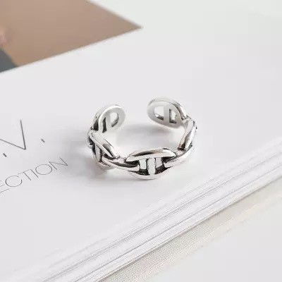 vintage silver chain ring