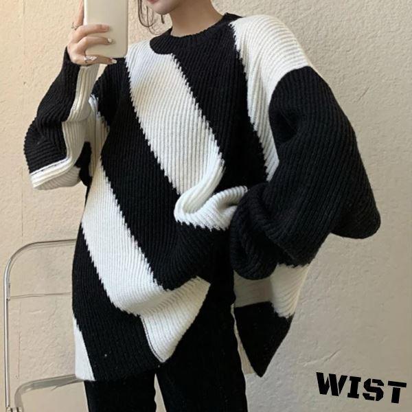 セーター ニット ストライプ モノトーン 白黒 ゆったり ピープス 韓国ファッション 122