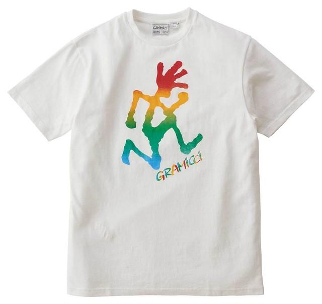 GRAMICCI (グラミチ) タイダイ ランニングマン ロゴプリント Tシャツ ホワイト GUT-20S065
