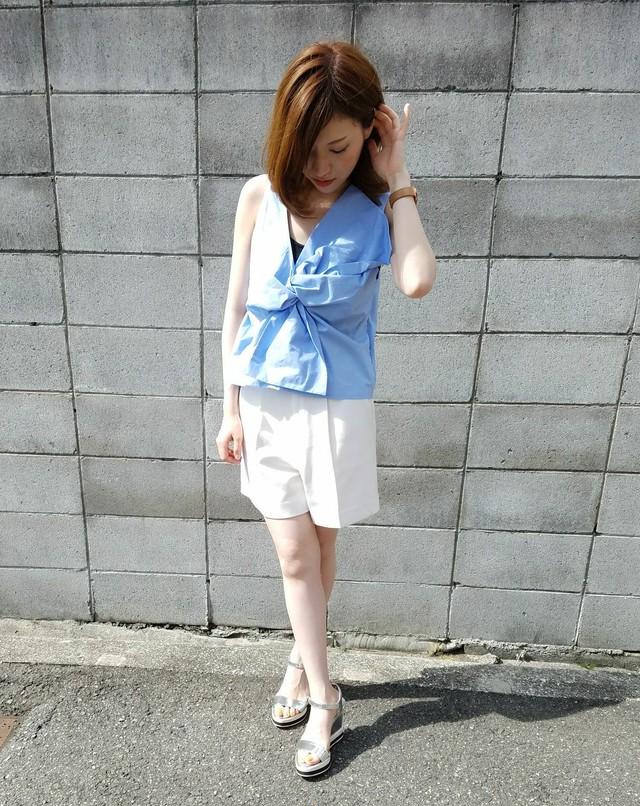 【30%off】2way bigribbon blouse light blue