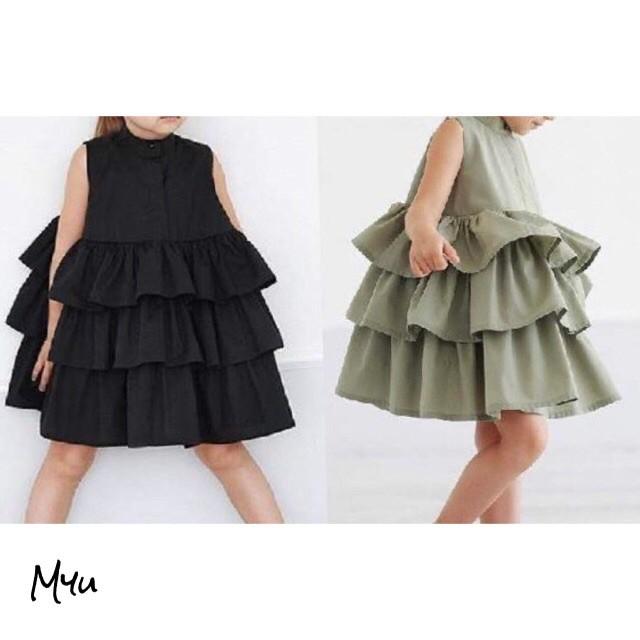 韓国子供服【90-130cm】Frill Dress フリルワンピース