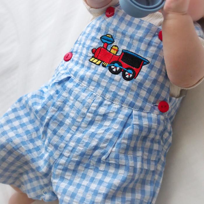 【ご予約受付中】大人気!列車刺繍のサロペット