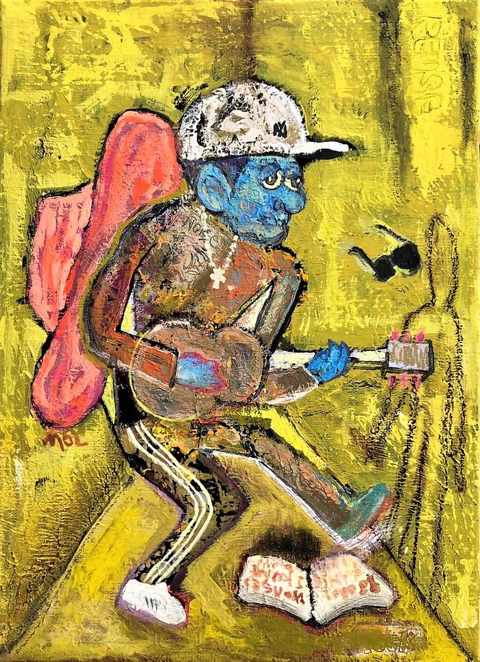 【現代アート】竹原ピストル「俺のアディダス」きっかけに制作、面白い絵が描けた。MoLの作品。