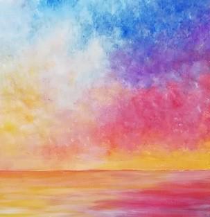 朝焼けの海の絵 アクリル画