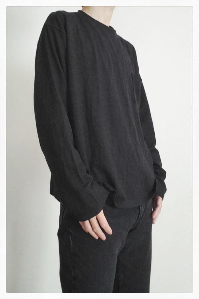 新商品 Super140'Sウォッシャブルウール ポケット付きロングTシャツ