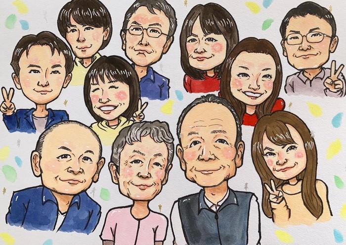 大人数似顔絵を還暦祝ほか古希・喜寿・傘寿など長寿のプレゼントに♫10人以上大家族似顔絵もOK!