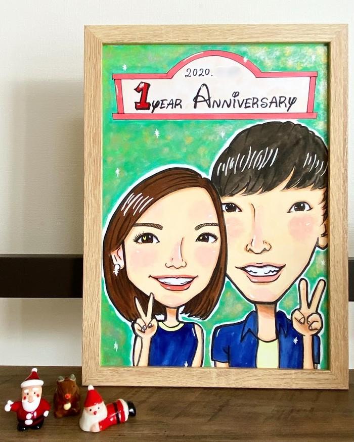 カップル似顔絵イラスト♡付き合って1年記念のプレゼントに。