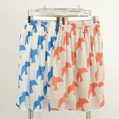暑い夏に気持ち良い!fillilのインド綿コットンスカート。ウエストゴムで楽々♪