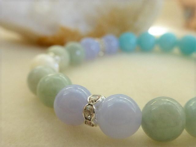 【 希望の石 】アマゾナイトと翡翠の天然石ブレスレット