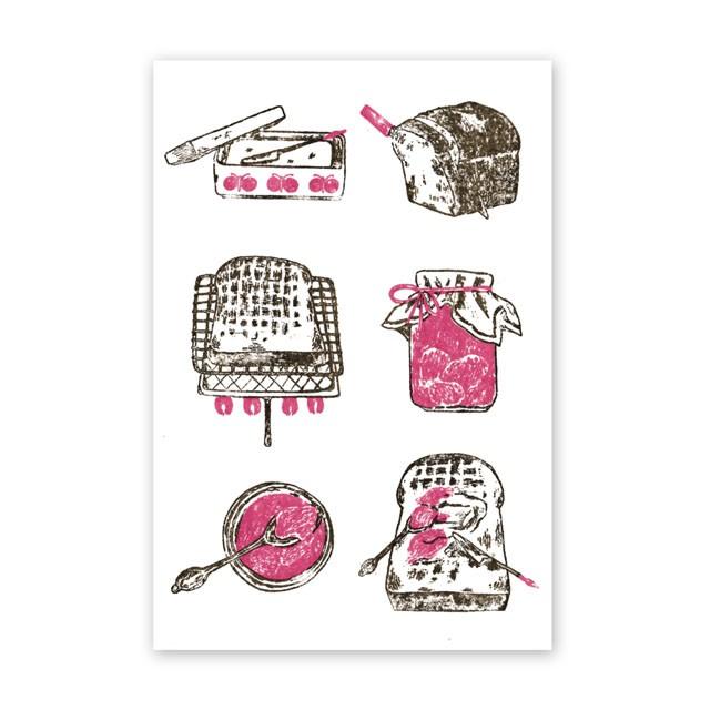 手刷りのかすれが焦げ目のよう!美味しいトーストの食べかたレシピをカード