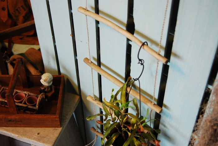 どんなお部屋の壁でも、引っ掛ける楽しみがあるナチュラルなハシゴ♪