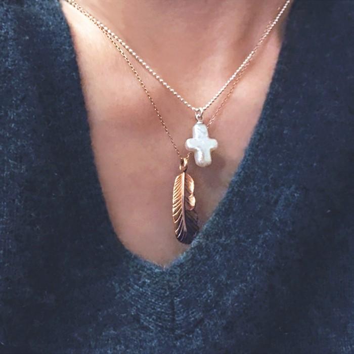 見事な本真珠の照り、本真珠クロスのネックレス