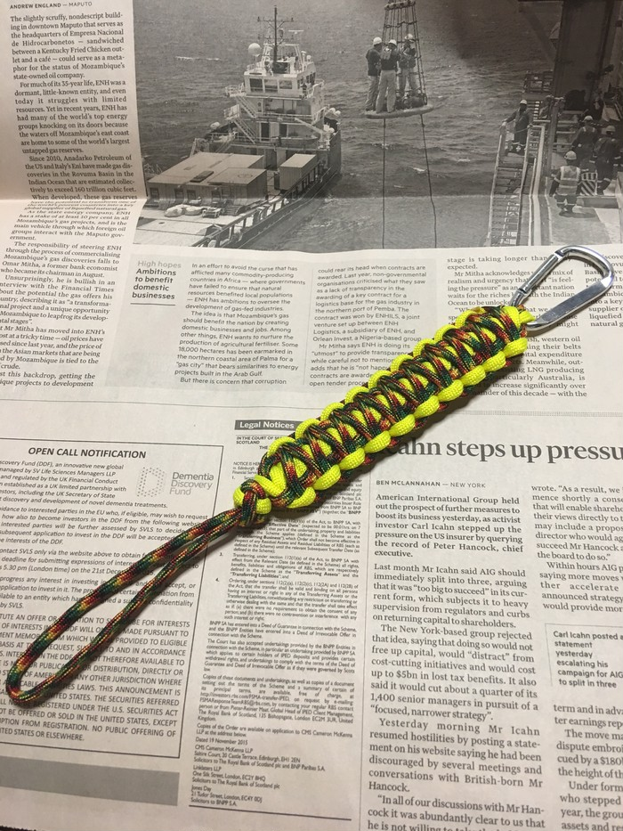 パラコードで作った、丈夫で永く使えてほどけばロープになる二重平結びのキーホルダー