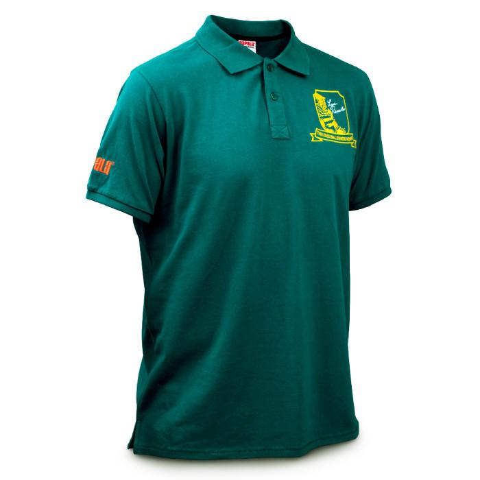 個性的なオリジナル刺繍が施された、夏に活躍する鮮やかなグリーンの半袖ポロシャツ