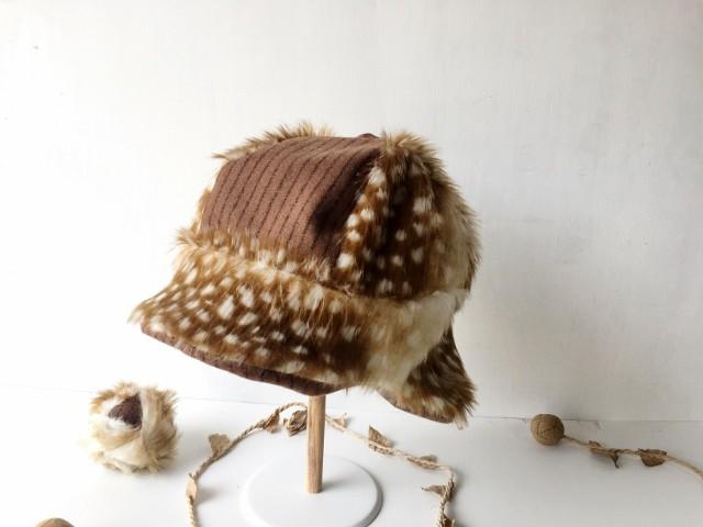 イヤマフにもなる!バンビ柄のあったかファー帽子