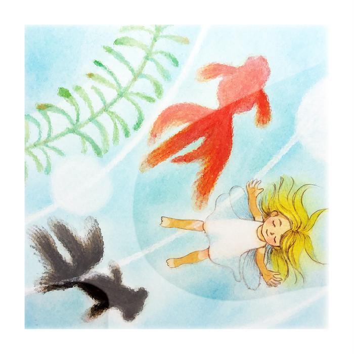 可愛い妖精と金魚が水に漂っている涼しげなイラストを手作りの額に収めました♥