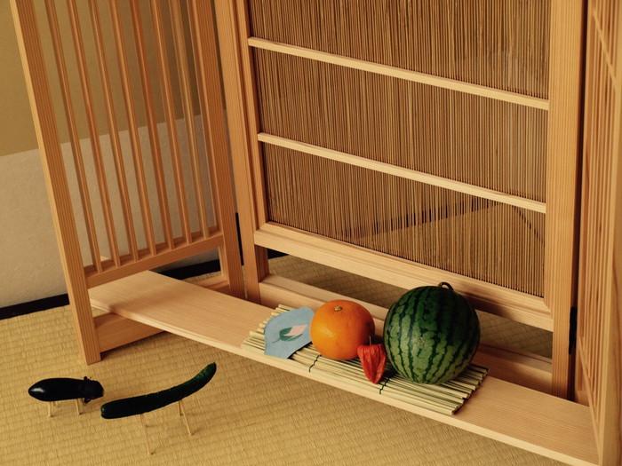 お盆飾りで、おもてなし|日本を楽しむ四季の衝立
