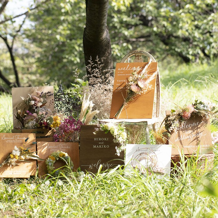 【lafeuille】コラボ お花をオーダーメイドできる木製ウェルカムボード conseil