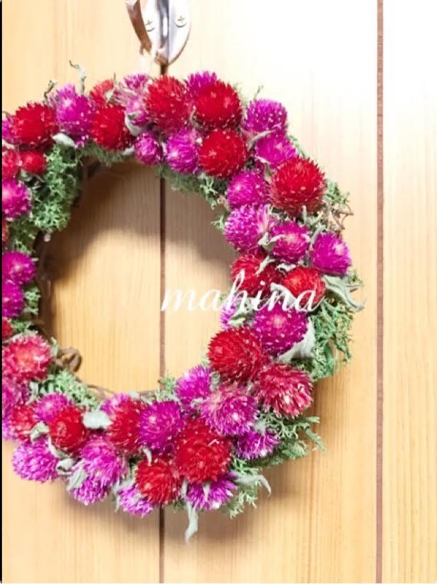 花言葉を添えて・・・ロマンチックな千日紅のリース☆
