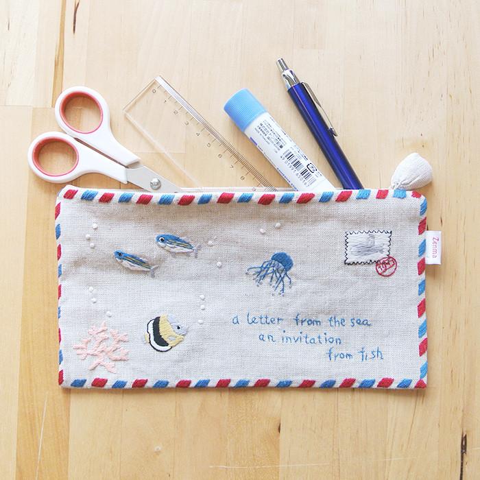 手刺繍×麻の優しいポーチ「海からの手紙」
