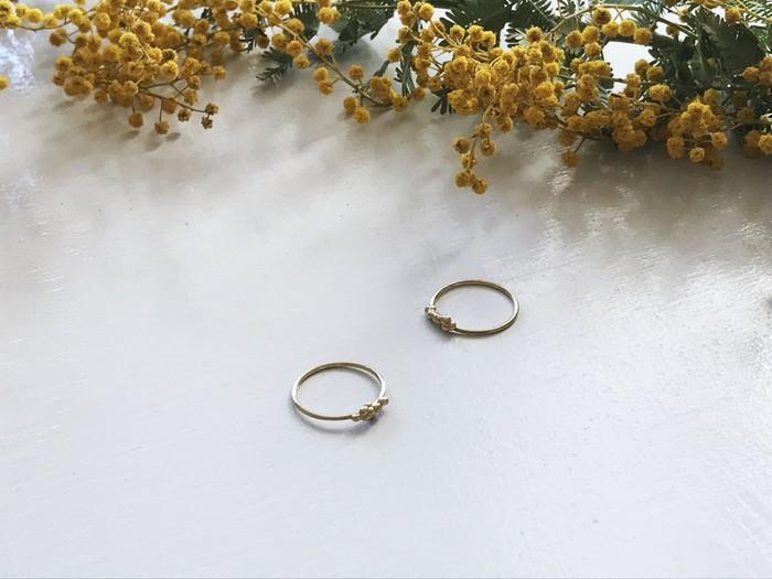 3/8はミモザの日🌼ミモザの指輪で指先から春を先取り🌼