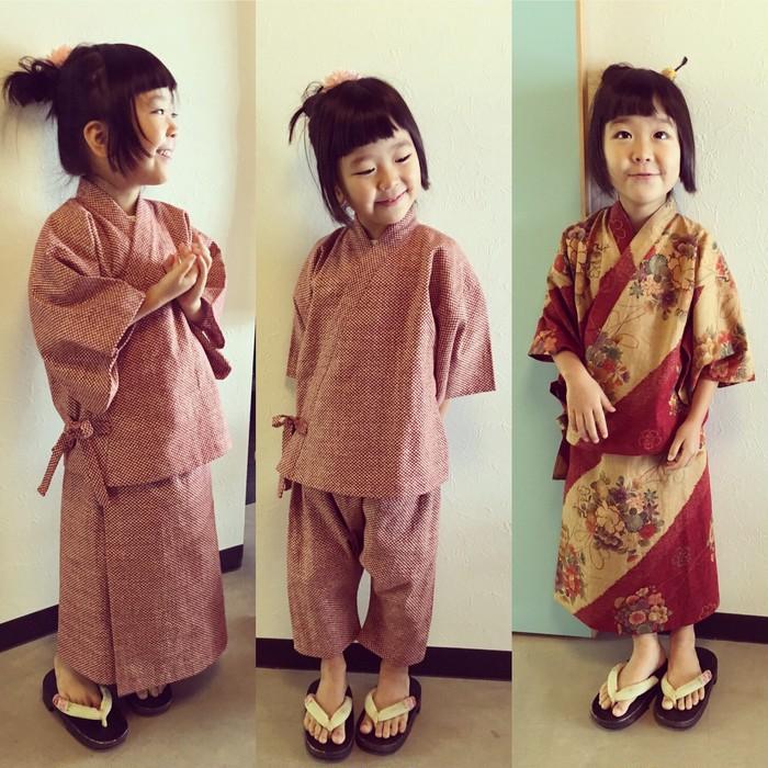 浴衣ちゃいますえ、甚平さんともちゃいますえ…お子たちの二部式着物どす!