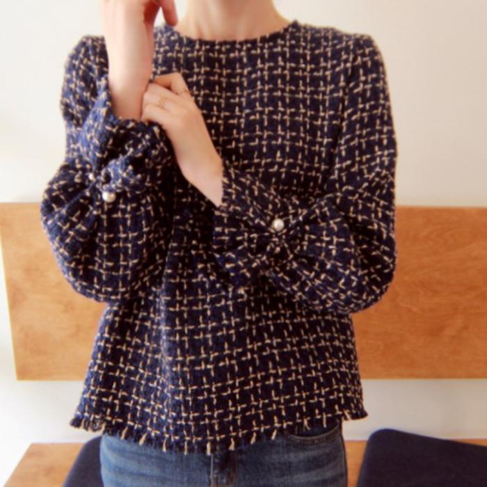 大流行の袖コントップスで綺麗め女子に♡品のある可憐な印象になれるツイードトップス