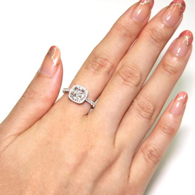 ローズカットで優しく輝く。クローバーを見立てたダイヤモンドリング