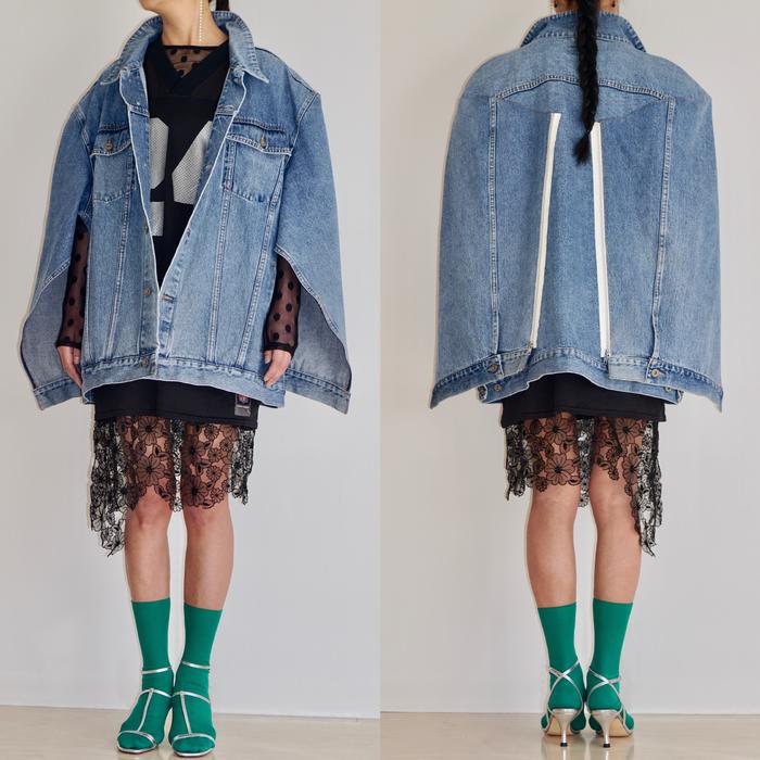 ビッグサイズのデニムジャケットをモダンにクラフトワーク、どう着こなしますか?