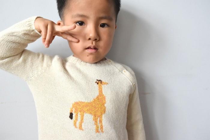 使い込む毎に柔らかくなる高級素材アルパカ100%を使用したキッズセーター。かわいいアニマル柄が◎