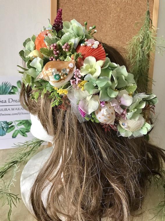 フォトジェニックな人魚の花嫁をイメージしたヘッドドレス
