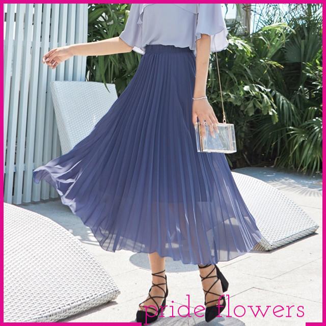 エレガントな雰囲気でオトナの女性らしさ満載☆プリーツギャザーロング丈スカート