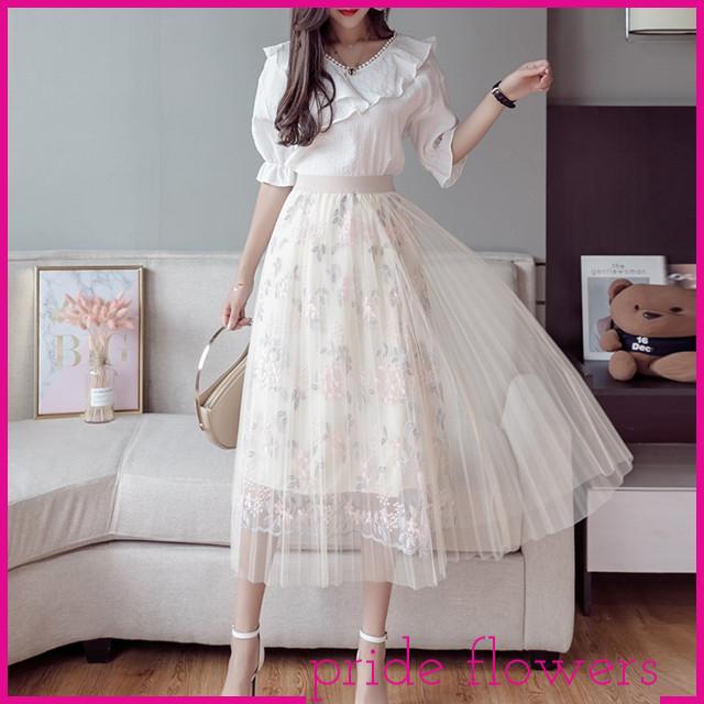 上品な透け感がかわいい☆花柄シースルースカート