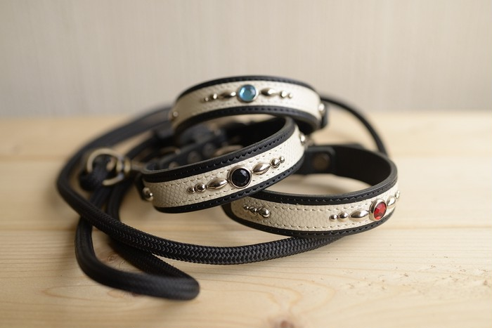 飼い主にとって首輪選びは一つの楽しみ!大人シックなレザー首輪とリードのセット