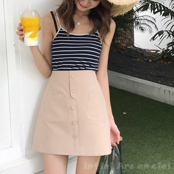 お洒落でガーリーな雰囲気をかもしだす。オルチャンスタイル・ハイウエストスカート