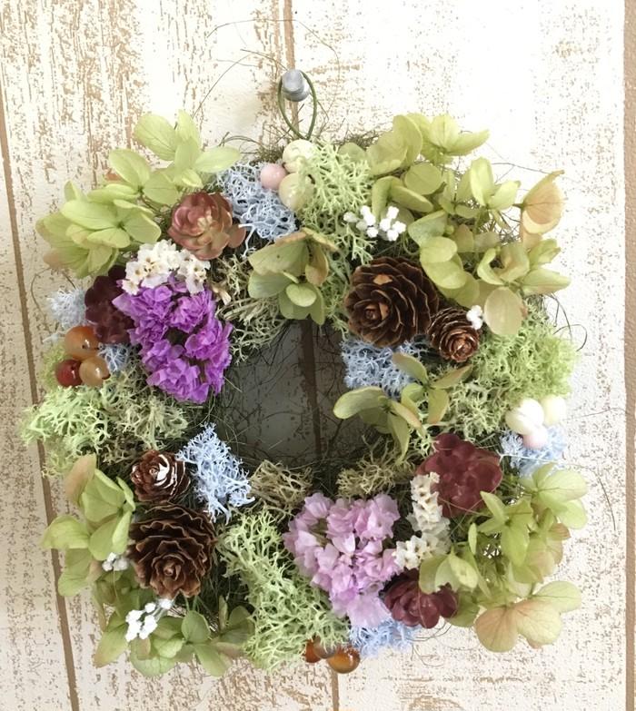 子授け・子宝リース*ドライフラワーの紫陽花とスターチスお花畑リース*ピンクシェル、珊瑚、カーネリアン