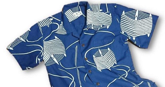 7 メンズ糸巻き柄浴衣リメイクアロハシャツ(M)