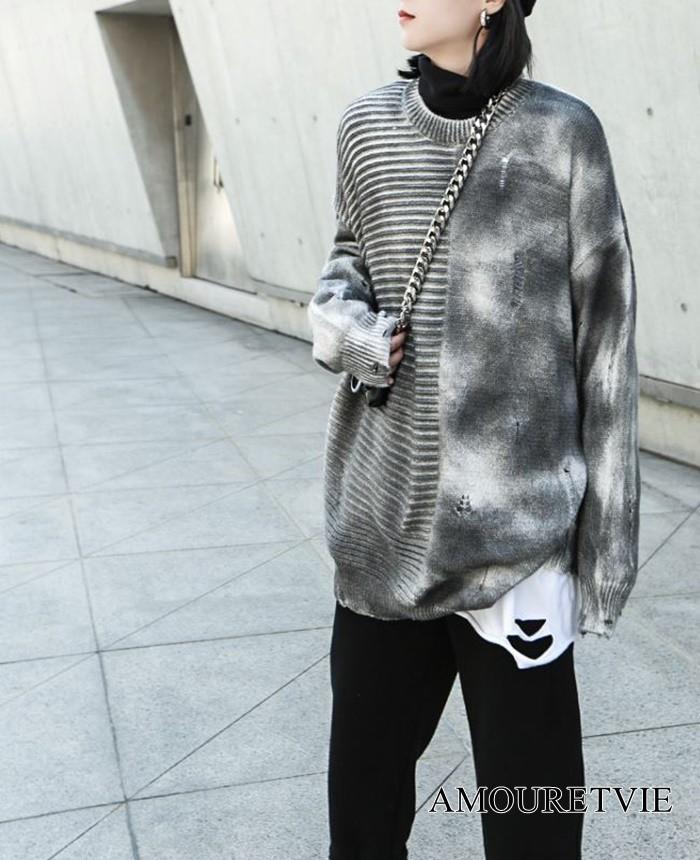 普段から使えるおしゃれなセーターが登場☆アシメデザイン、ダメージ、モダンなヴィジュアルと完璧な一枚☆