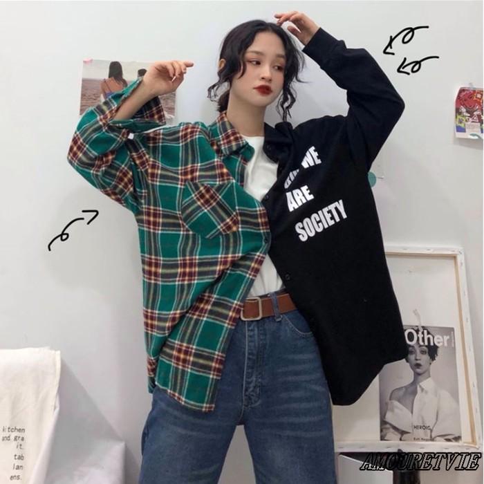 チェックシャツとシックなシャツの大胆な融合デザイン♪インパクト抜群のシャツで楽しくコーデ☆