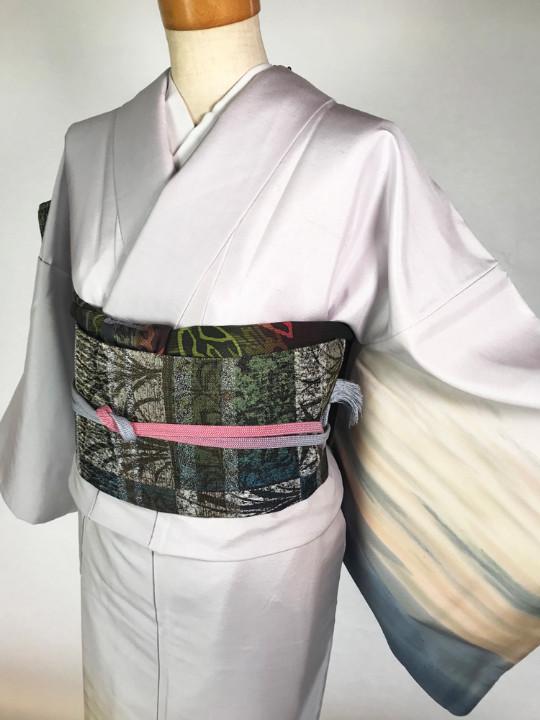 若年層からご年配の方まで着られる日本三大紬「牛首紬」の訪問着!しゃれ袋帯を含む4点セット